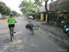 Folks generously shared the roads as they biked to and from work or markets